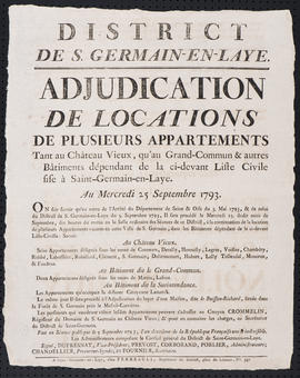 Affiche annonçant l'adjudication de la location d'appartements au château de Saint-Germain-en-Laye
