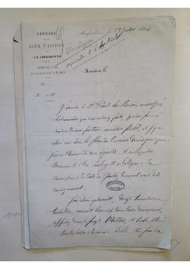 Lettre relative à la commune de Saint-Paul-la-Roche