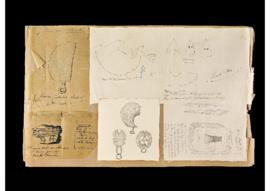 Dessins sur calque d'objets provenant de la collection Rabut